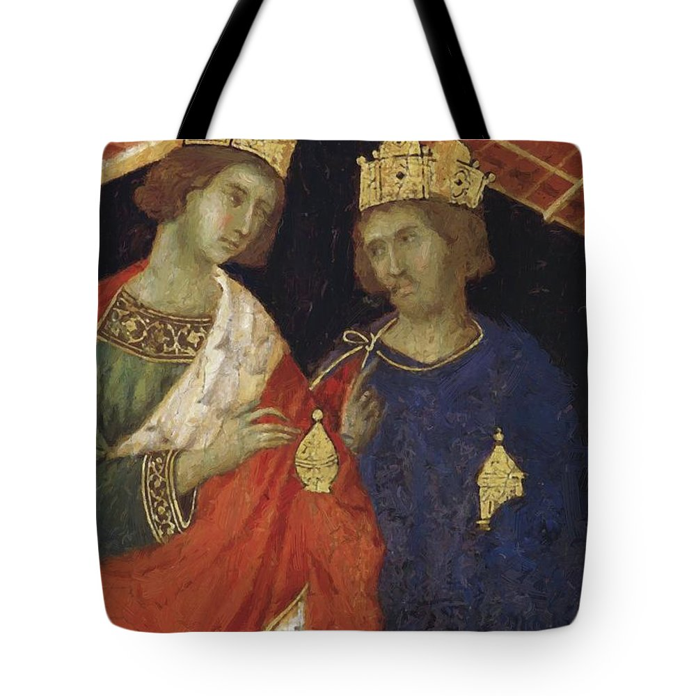 Adoration Tote Bag featuring the painting Adoration Of The Magi Fragment 1311 by Duccio