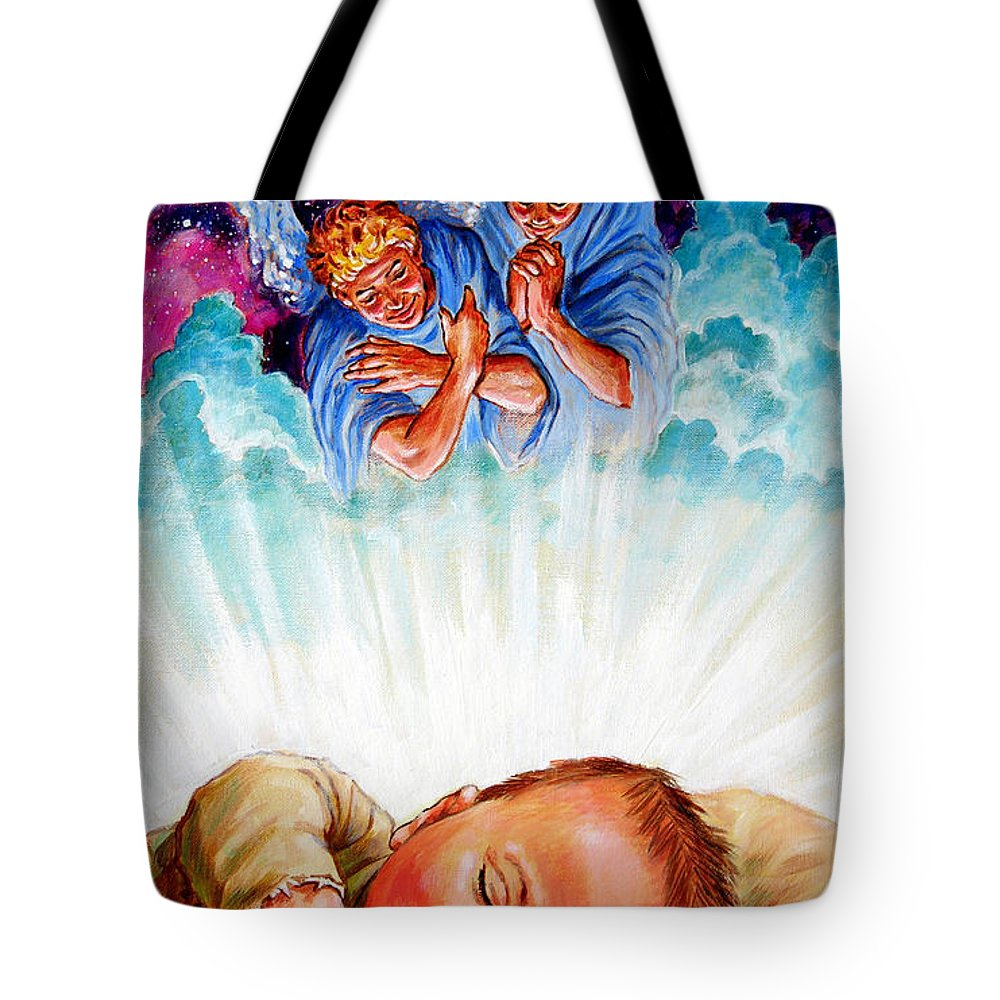 Baby Jesus Tote Bag featuring the painting Adore Your Saviour by John Lautermilch