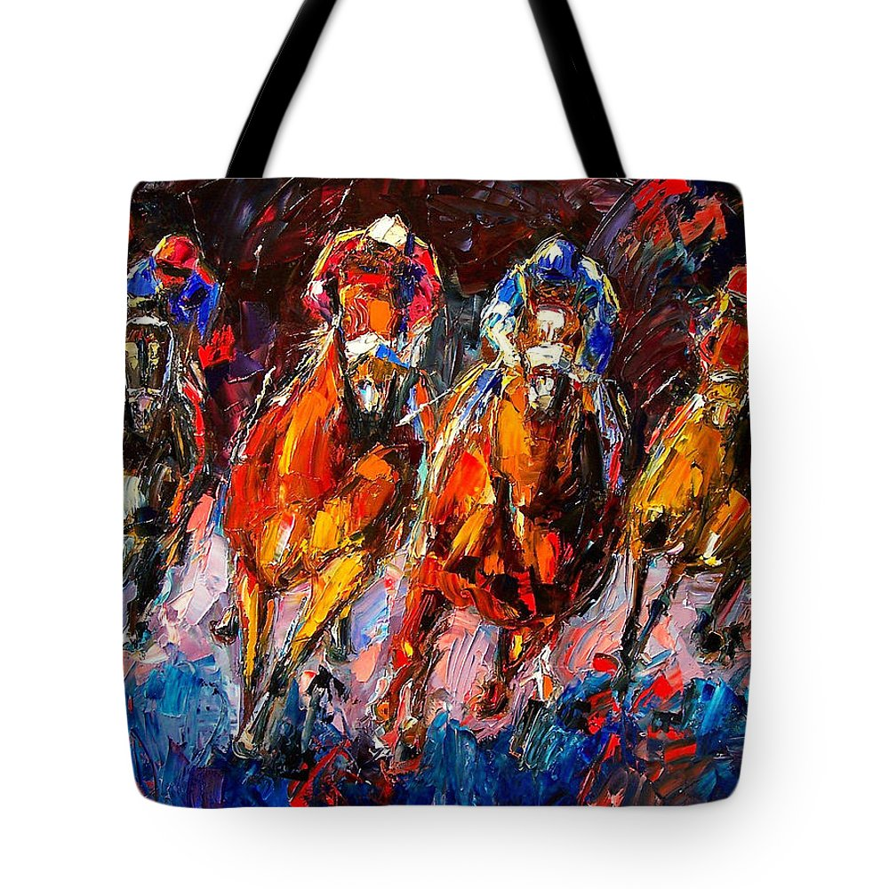 Horse Race Tote Bag featuring the painting Adrenaline by Debra Hurd