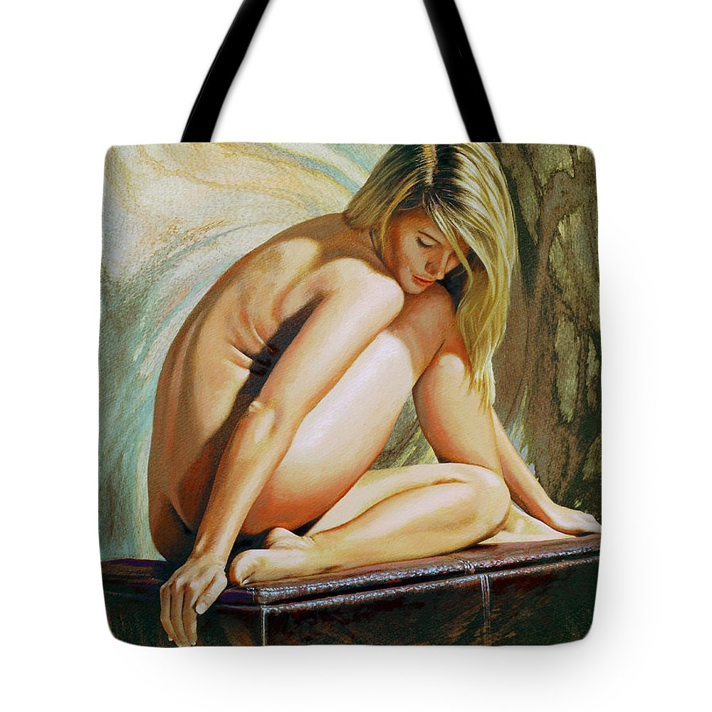 Nude Tote Bag featuring the painting Adrina by Paul Krapf