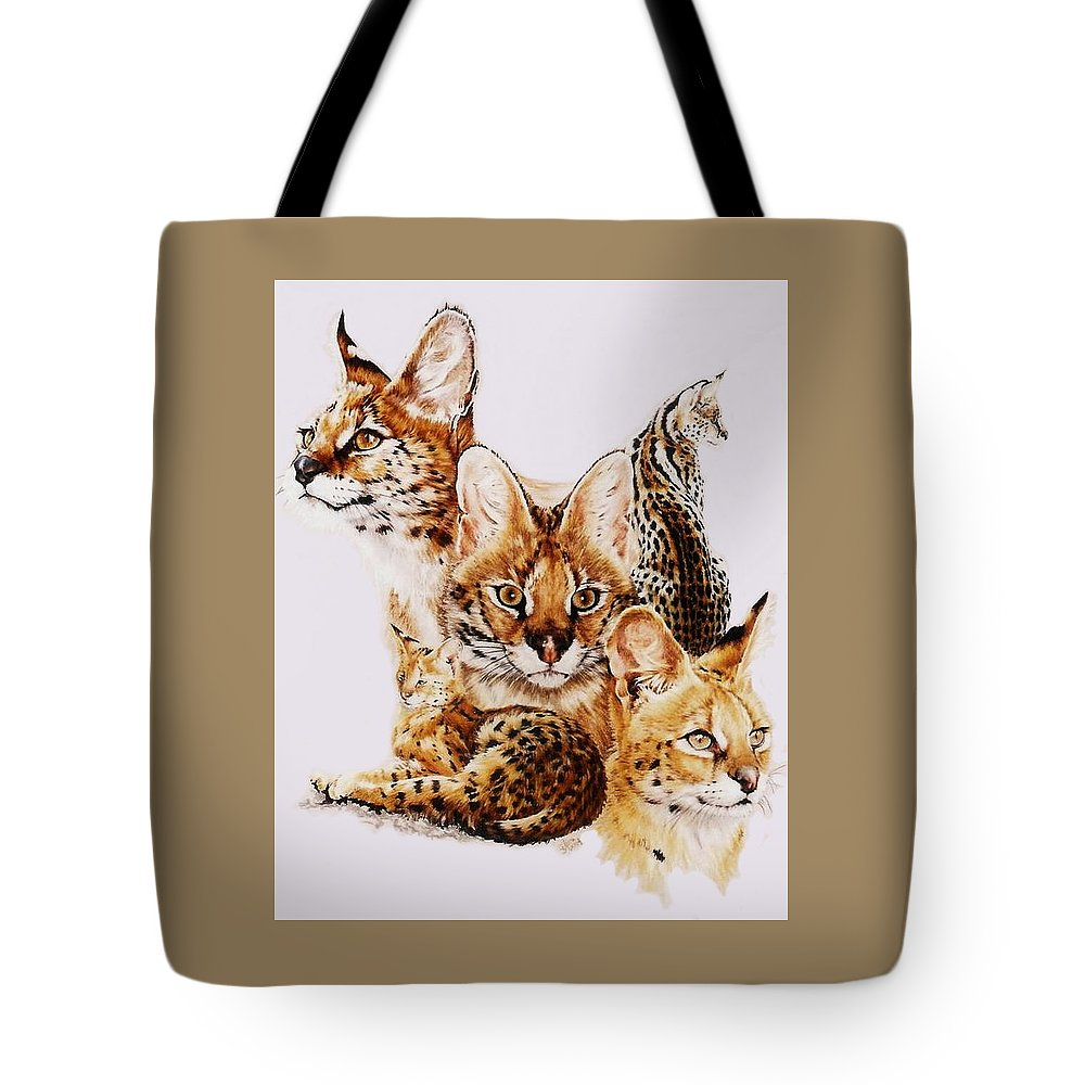 Serval Tote Bag featuring the drawing Adroit by Barbara Keith