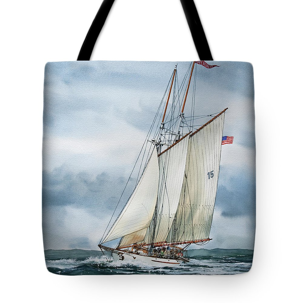 Sailing Vessel Adventuress Tote Bag featuring the painting Adventuress by James Williamson