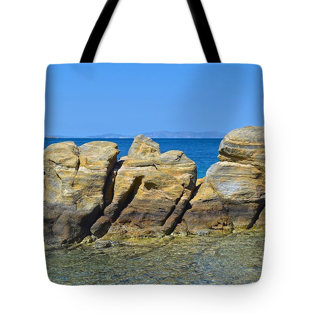 Stone Tote Bag featuring the photograph Aegean Rocks by Eric Reger