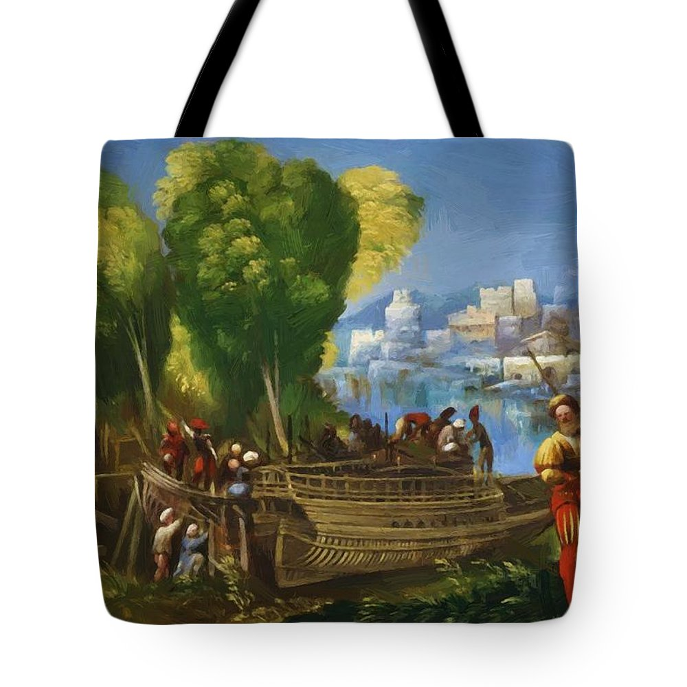 Aeneas Tote Bag featuring the painting Aeneas And Achates On The Libyan Coast 1520 by Dossi Dosso