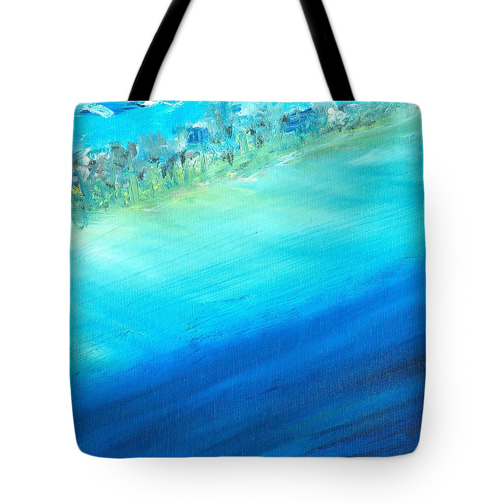 Seashore Tote Bag featuring the painting Aerial Coastline by Jorge Delara