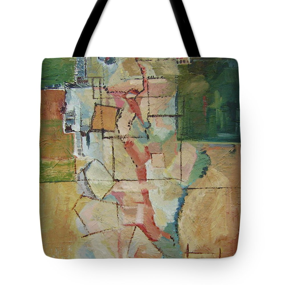 Abstract Art Tote Bag featuring the painting Aerial by Ginger Concepcion