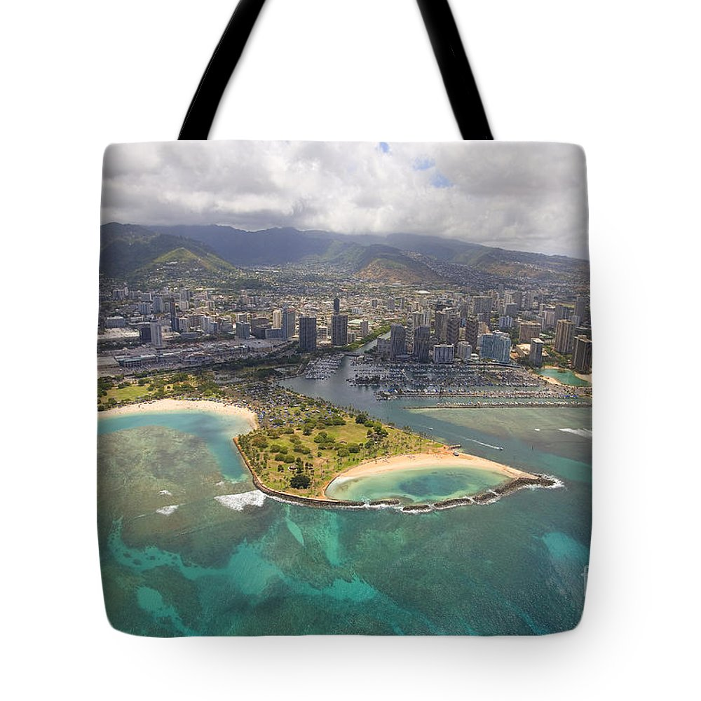 Above Tote Bag featuring the photograph Aerial Of Magic Island by Ron Dahlquist - Printscapes