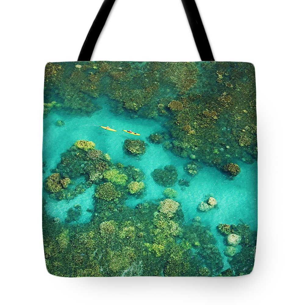 Above Tote Bag featuring the photograph Aerial Of Two Kayakers by Ron Dahlquist - Printscapes