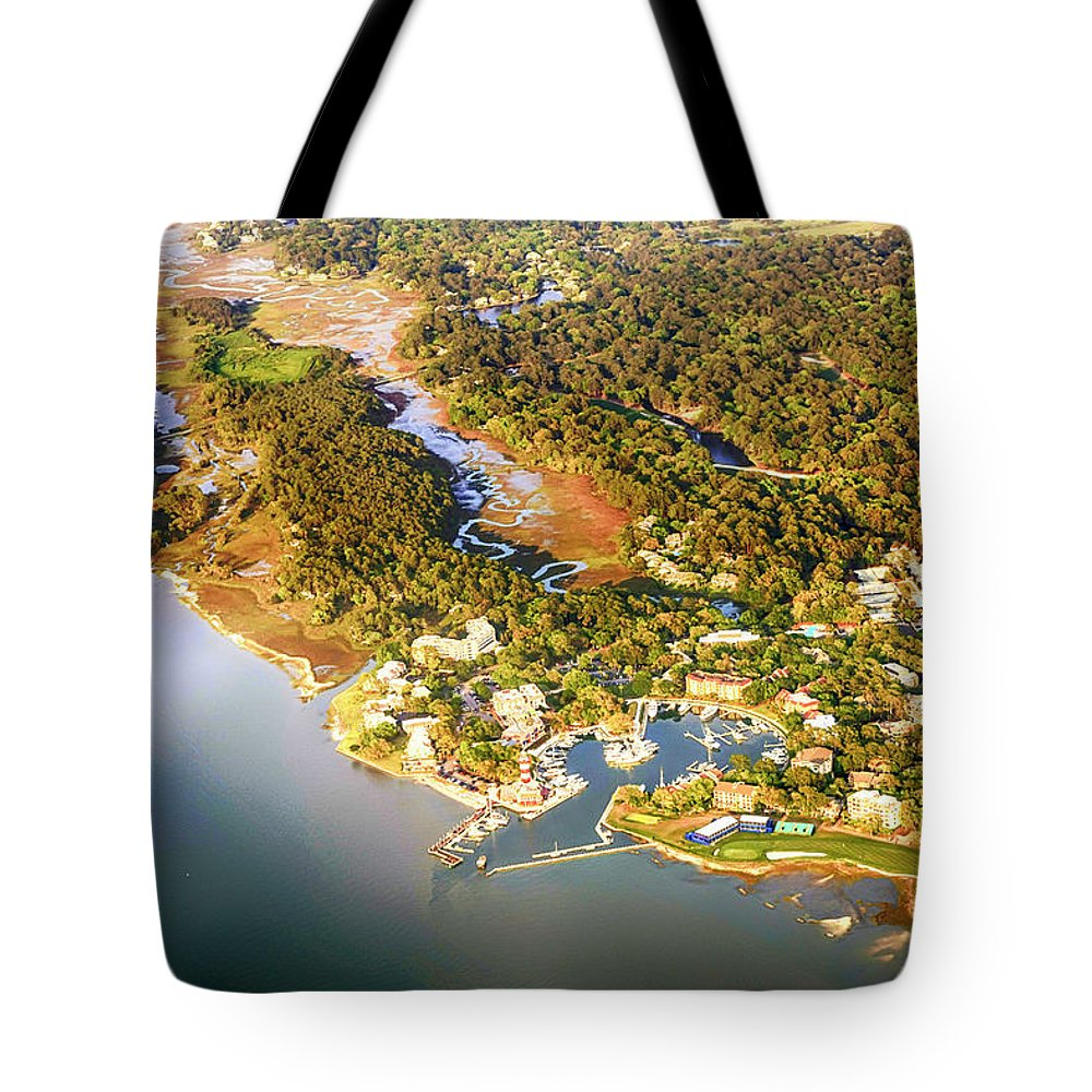 Aerial Tote Bag featuring the photograph Aerial View Of Hilton Head Sc by Chris Smith