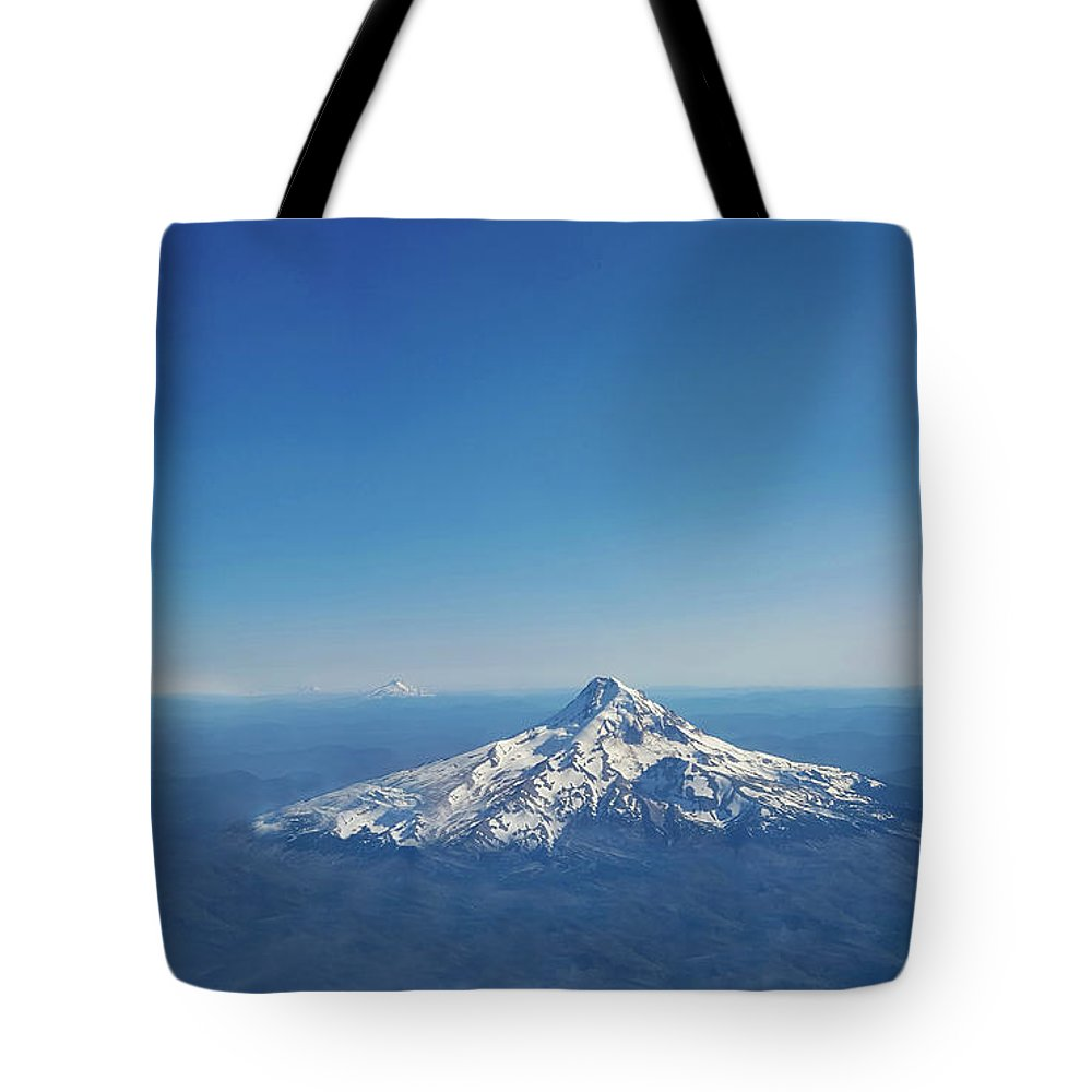 Mount Rainier Tote Bag featuring the photograph Aerial View Of Snowy Mountain by Art Spectrum
