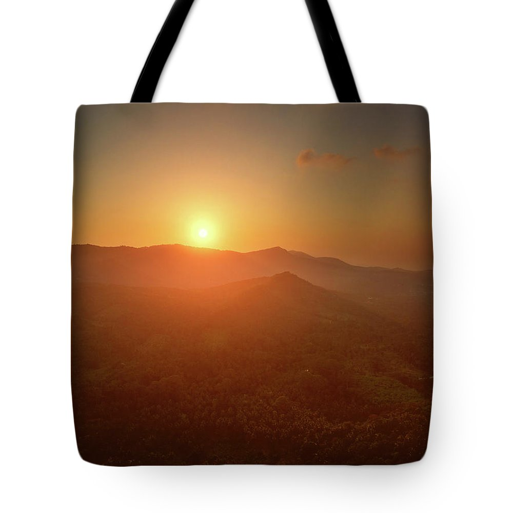 Aerial Tote Bag featuring the photograph Aerial View Of Sunset Over Mountain Jungle by Lukasz Szczepanski