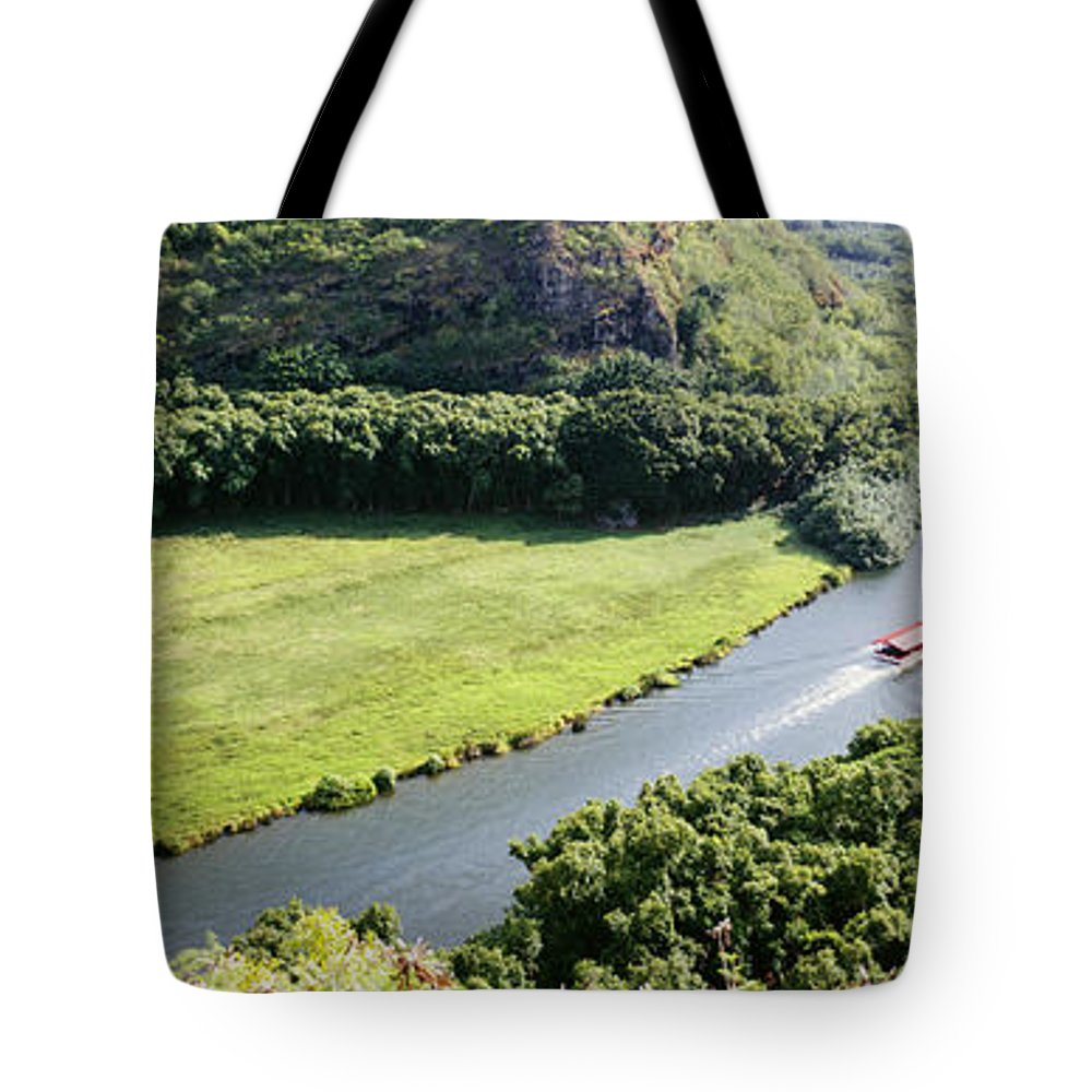 Aerial Tote Bag featuring the photograph aerial view of Wailua River by Bill Schildge - Printscapes