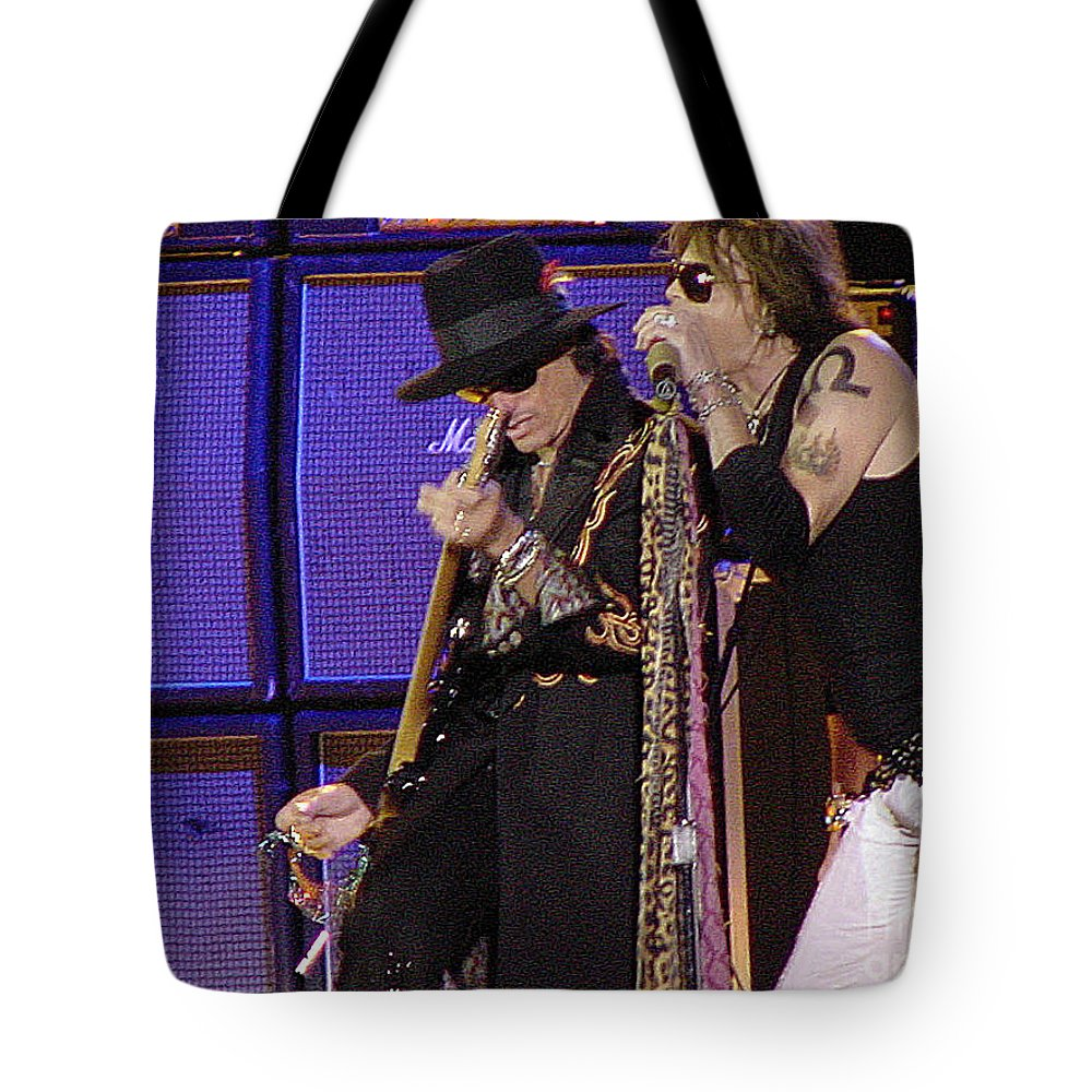 Aerosmith Tote Bag featuring the photograph Aerosmith - Steven Tyler -dsc00015 by Gary Gingrich Galleries