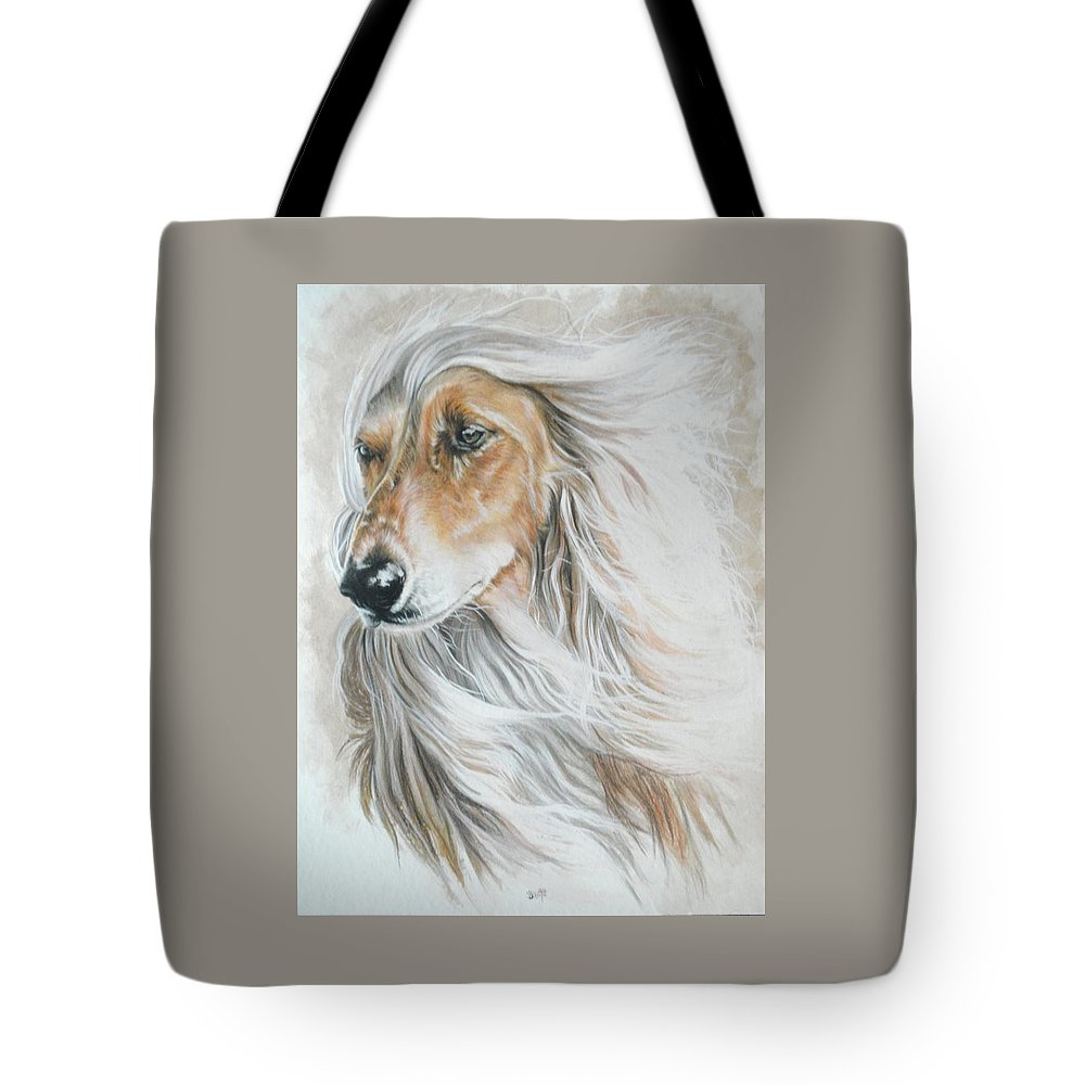 Hound Tote Bag featuring the mixed media Afghan Hound by Barbara Keith