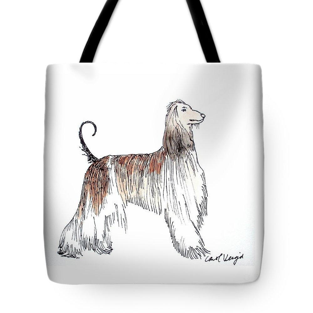 Afghan Hound Tote Bag featuring the drawing Afghan Hound by Carol Veiga