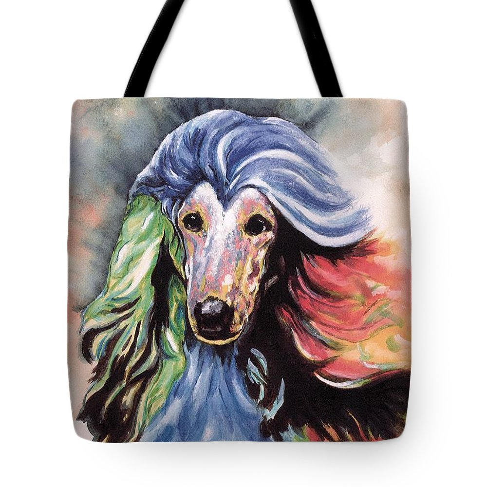 Afghan Hound Tote Bag featuring the painting Afghan Storm by Kathleen Sepulveda