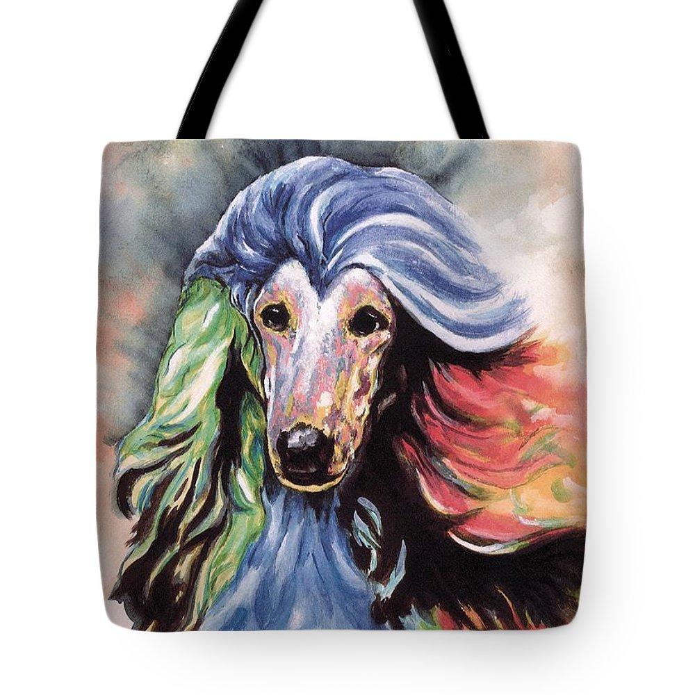 Afghan Hound Tote Bag featuring the painting Afghan Storm by Kathleen Sepulveda