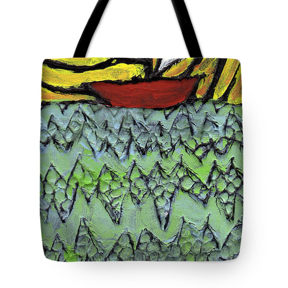 Sailing Tote Bag featuring the painting Afloat On The Bubbling Sea by Wayne Potrafka