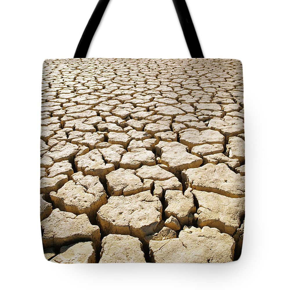 82-csm0037 Tote Bag featuring the photograph Africa Cracked Mud by Larry Dale Gordon - Printscapes
