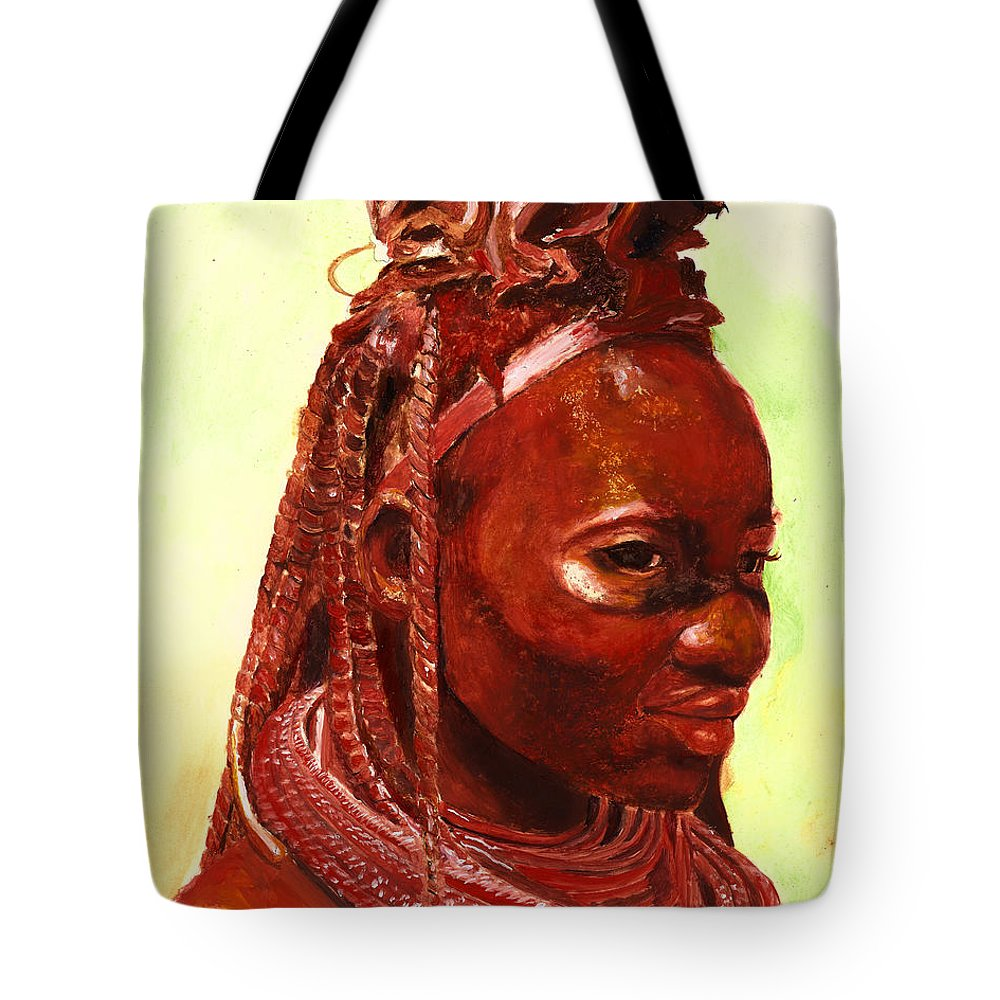 People Portrait Tote Bag featuring the painting African Beauty by Portraits By NC