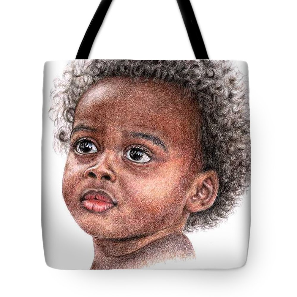 Child Tote Bag featuring the drawing African Child by Nicole Zeug