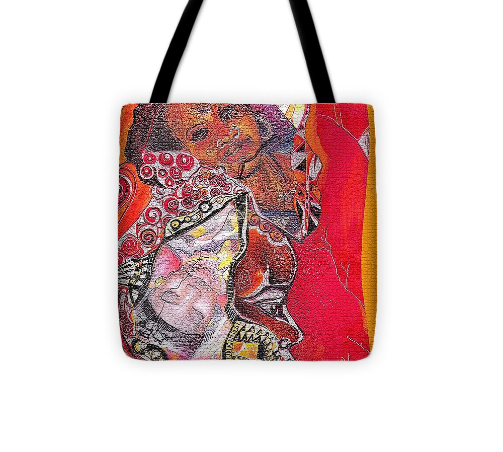 Fantasy Tote Bag featuring the drawing African Crown by Bernadett Bagyinka