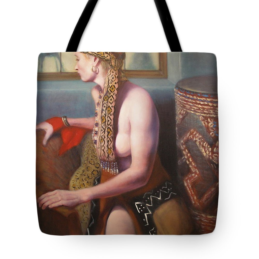 Realism Tote Bag featuring the painting African Drum 1 by Donelli DiMaria