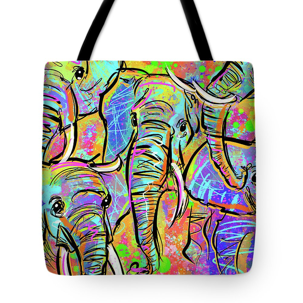 Elephant Tote Bag featuring the digital art African Elephants by Morgan Richardson