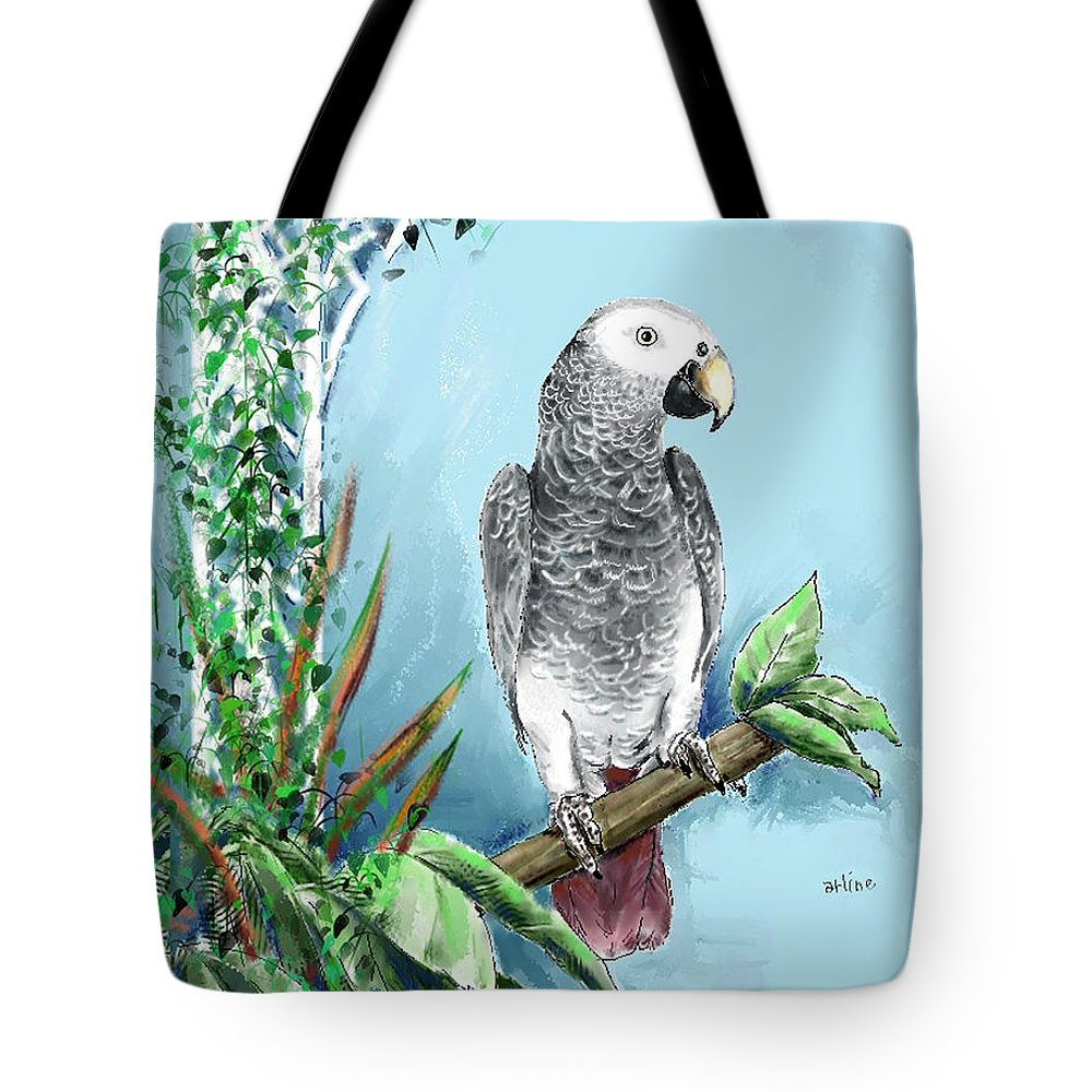 Birds Tote Bag featuring the digital art African Grey Parrot by Arline Wagner