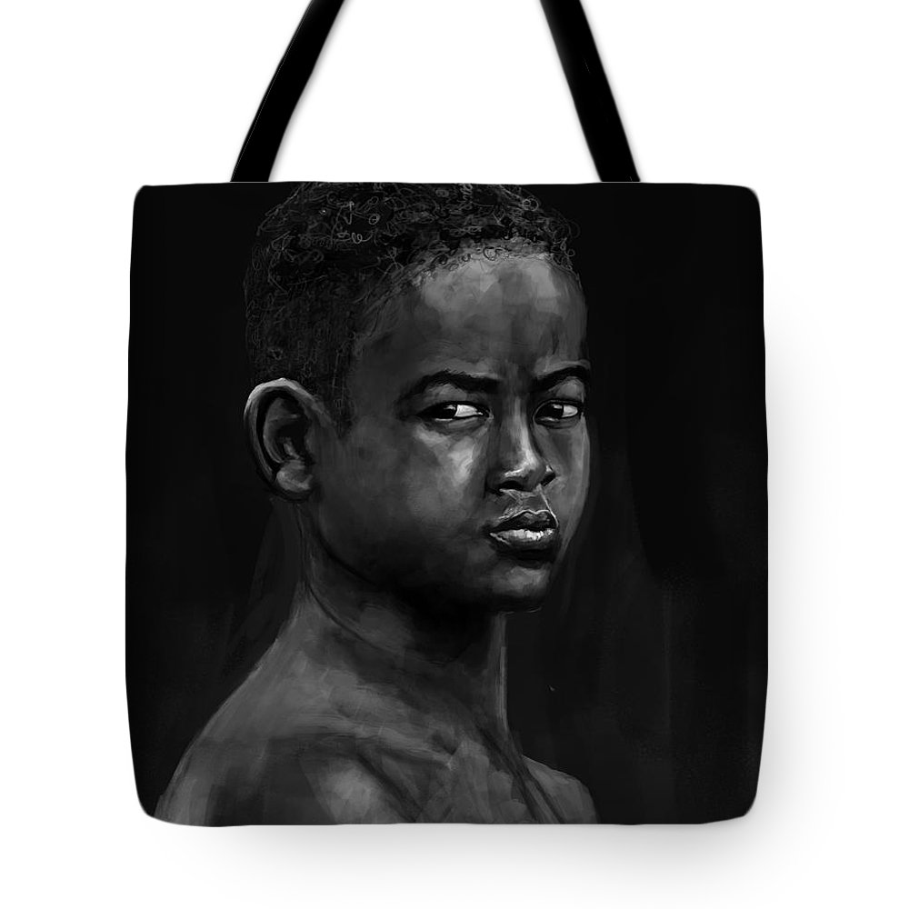 Portrait Tote Bag featuring the digital art African Kid by Alexandru Madan