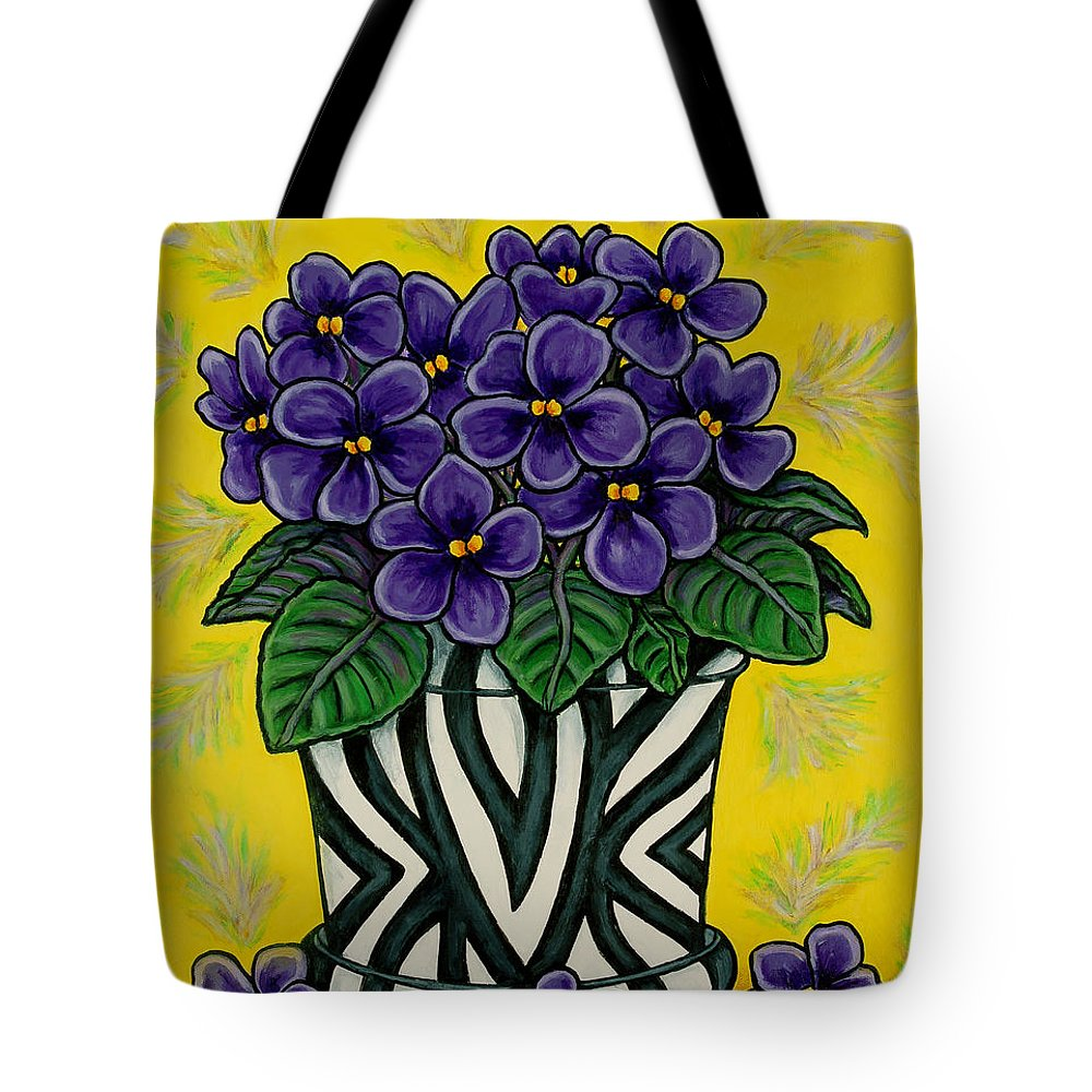 Violets Tote Bag featuring the painting African Queen by Lisa Lorenz