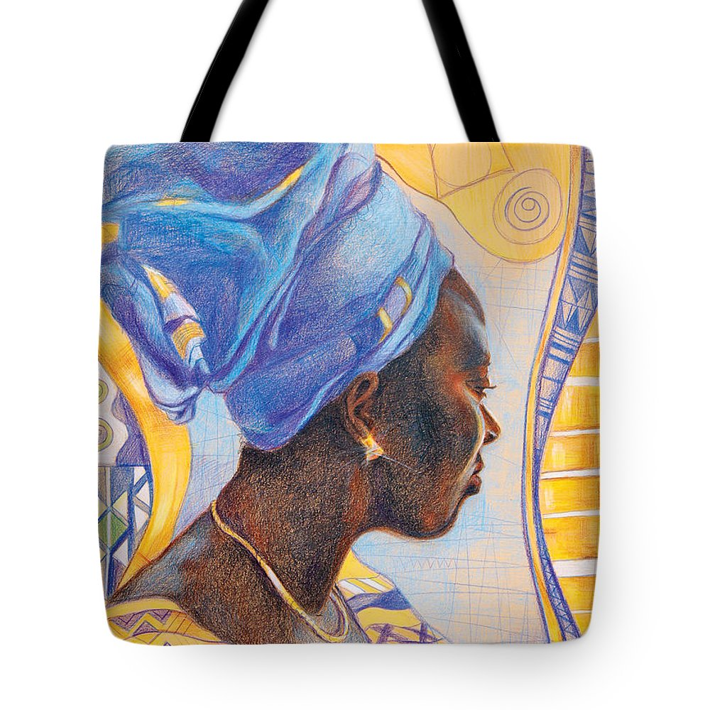 Portrait Fantasy Tote Bag featuring the drawing African Secession by Bernadett Bagyinka