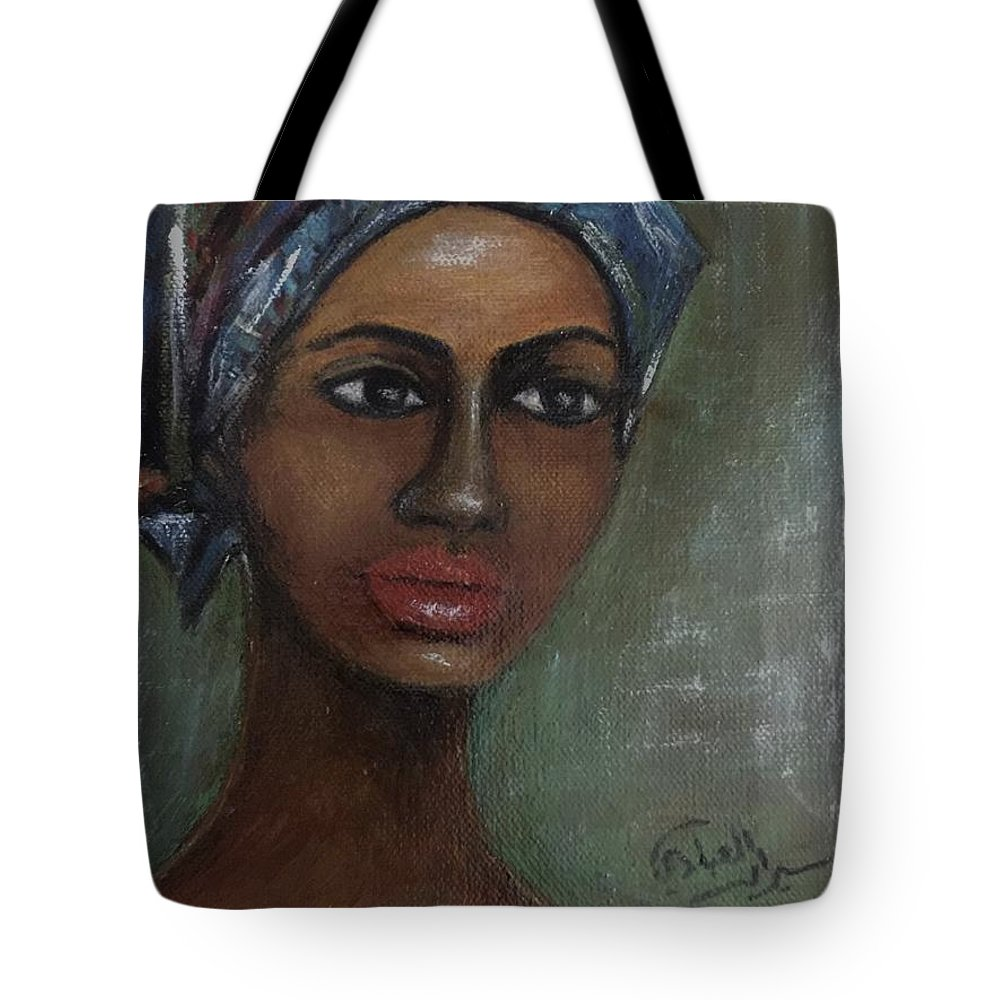 Tote Bag featuring the painting African Beauty by Siran Ajel