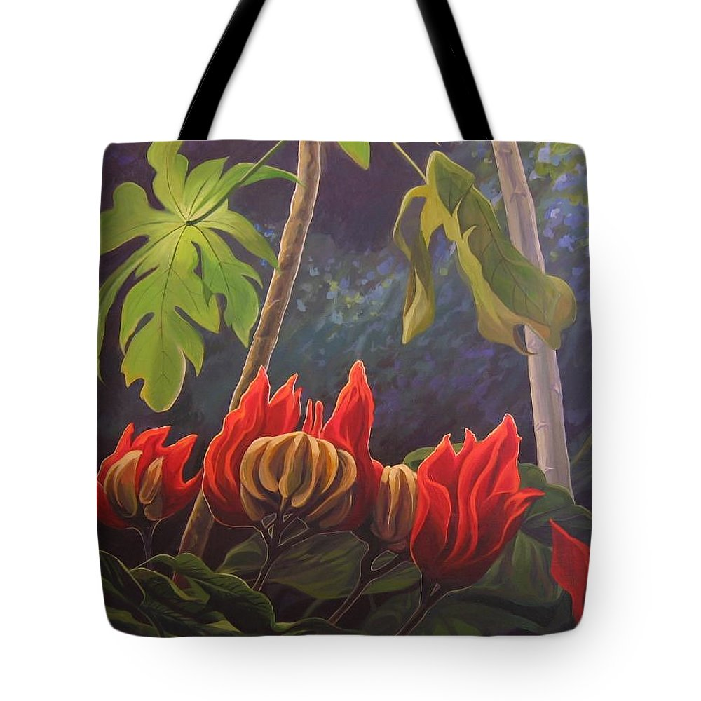 African Tulip Tote Bag featuring the painting African Tulip by Hunter Jay