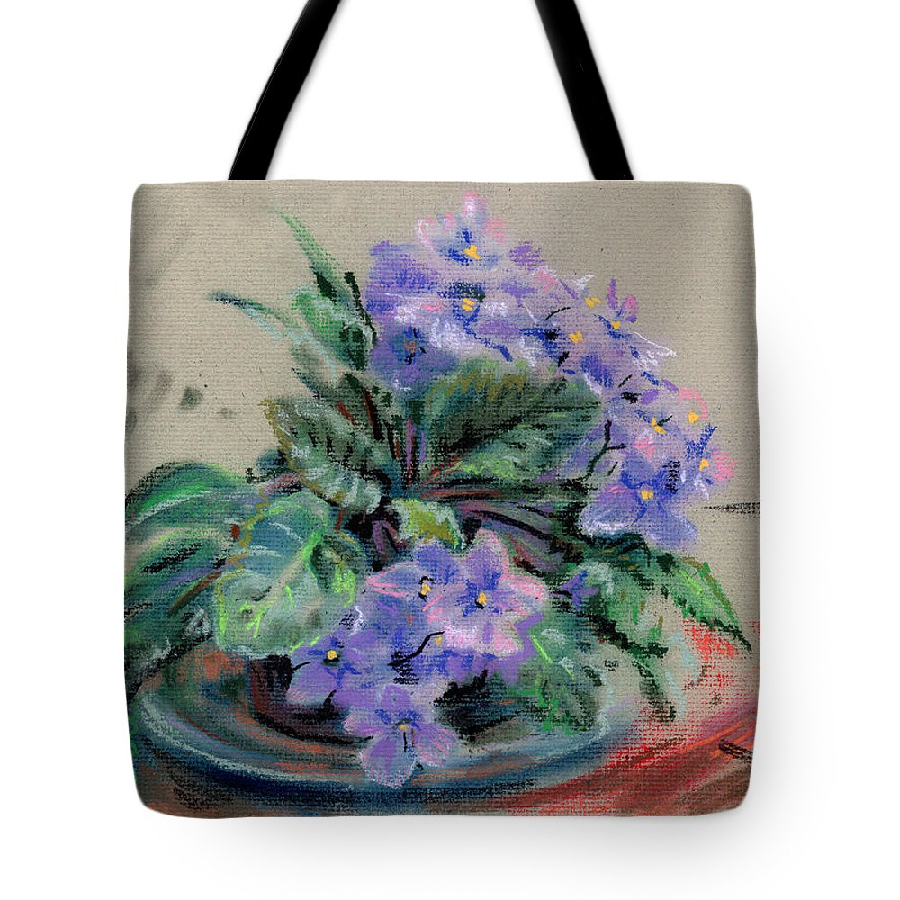 African Violets Tote Bag featuring the drawing African Violet by Donald Maier