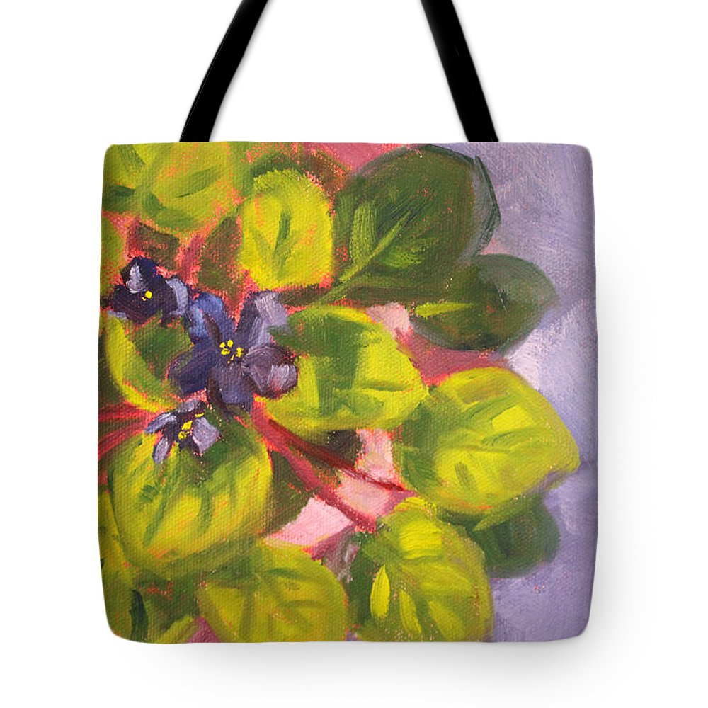 African Tote Bag featuring the painting African Violet Still Life Oil Painting by Nancy Merkle