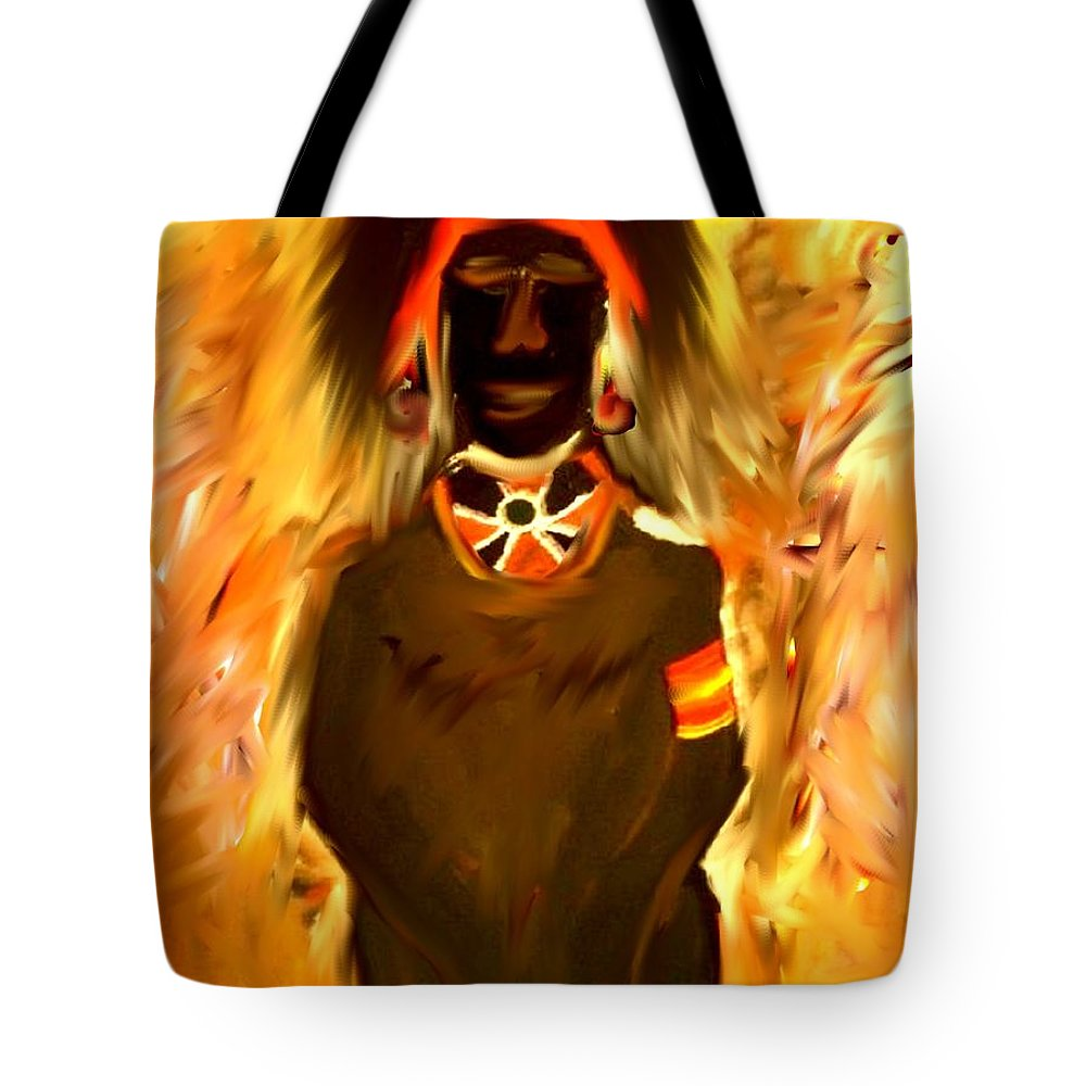 African Tote Bag featuring the painting African Warrior by Kelly Turner