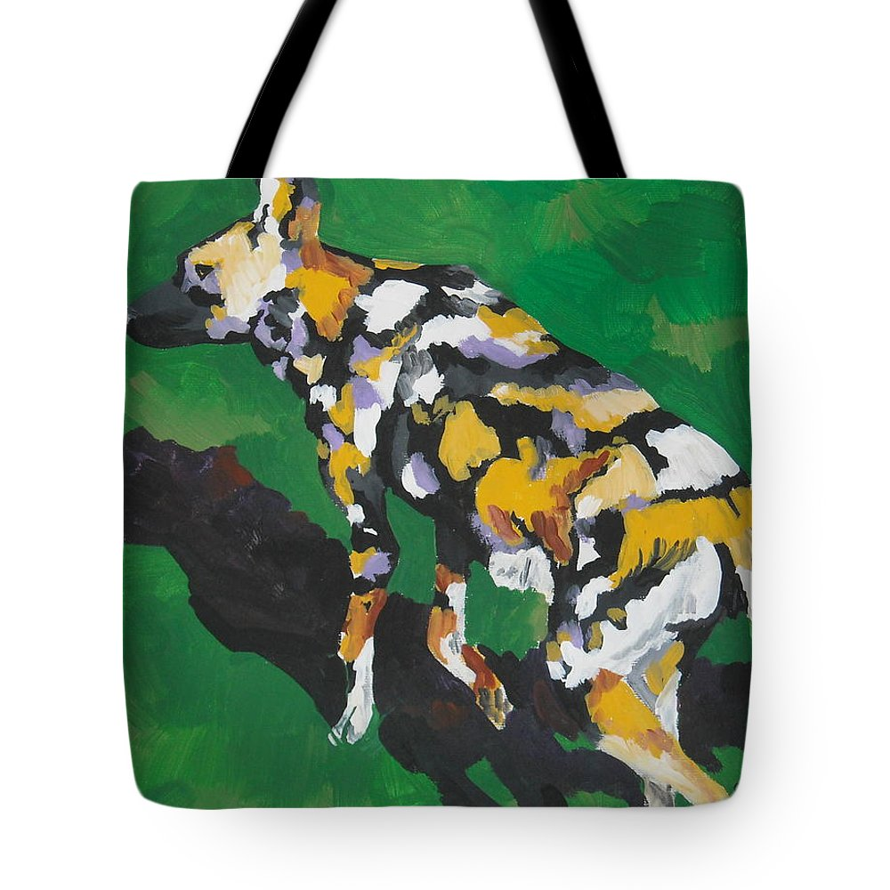 Wild Dog Tote Bag featuring the painting African Wild Dog by Caroline Davis