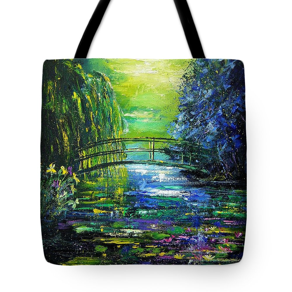 Pond Tote Bag featuring the painting After Monet by Pol Ledent