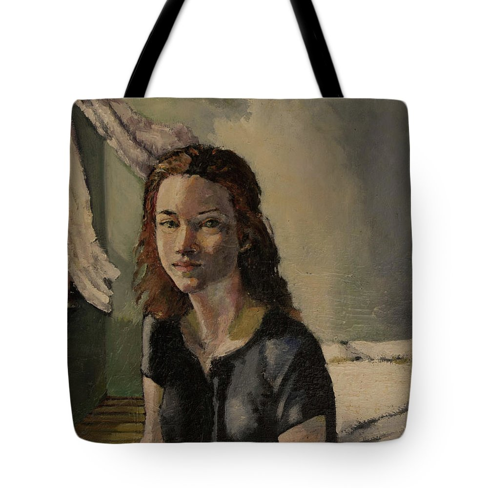 Young Girl Tote Bag featuring the painting After Nap by Craig Newland