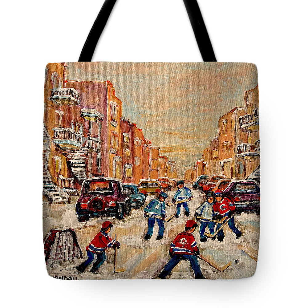After School Hockey Game Tote Bag featuring the painting After School Hockey Game by Carole Spandau