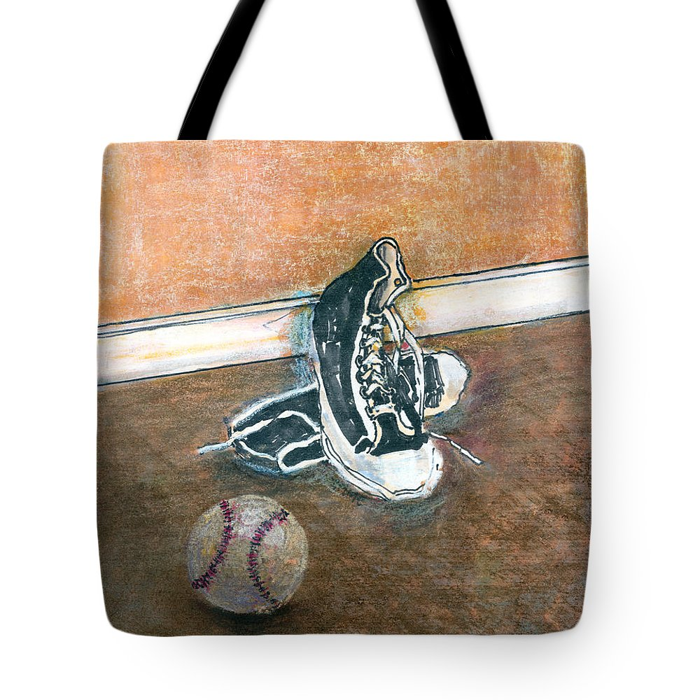 Tennis Shoes Tote Bag featuring the mixed media After The Game by Arline Wagner