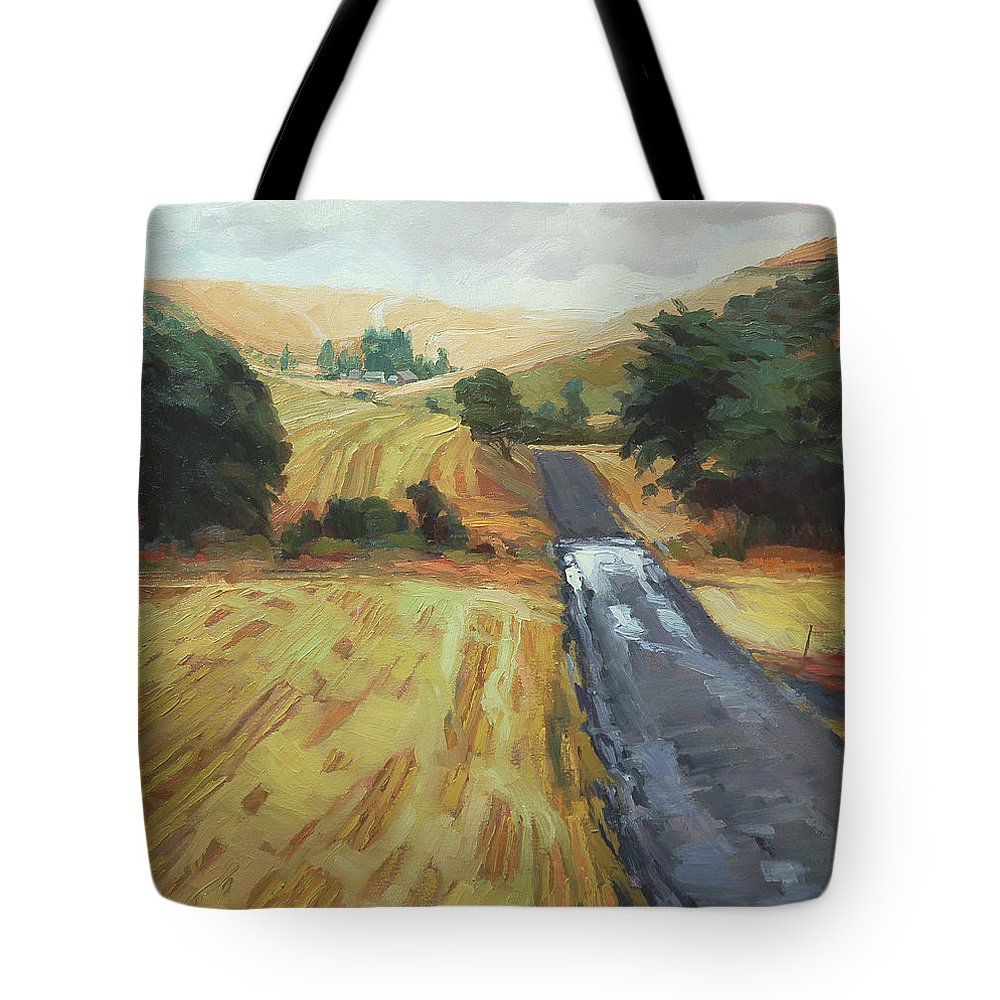 Country Tote Bag featuring the painting After The Harvest Rain by Steve Henderson