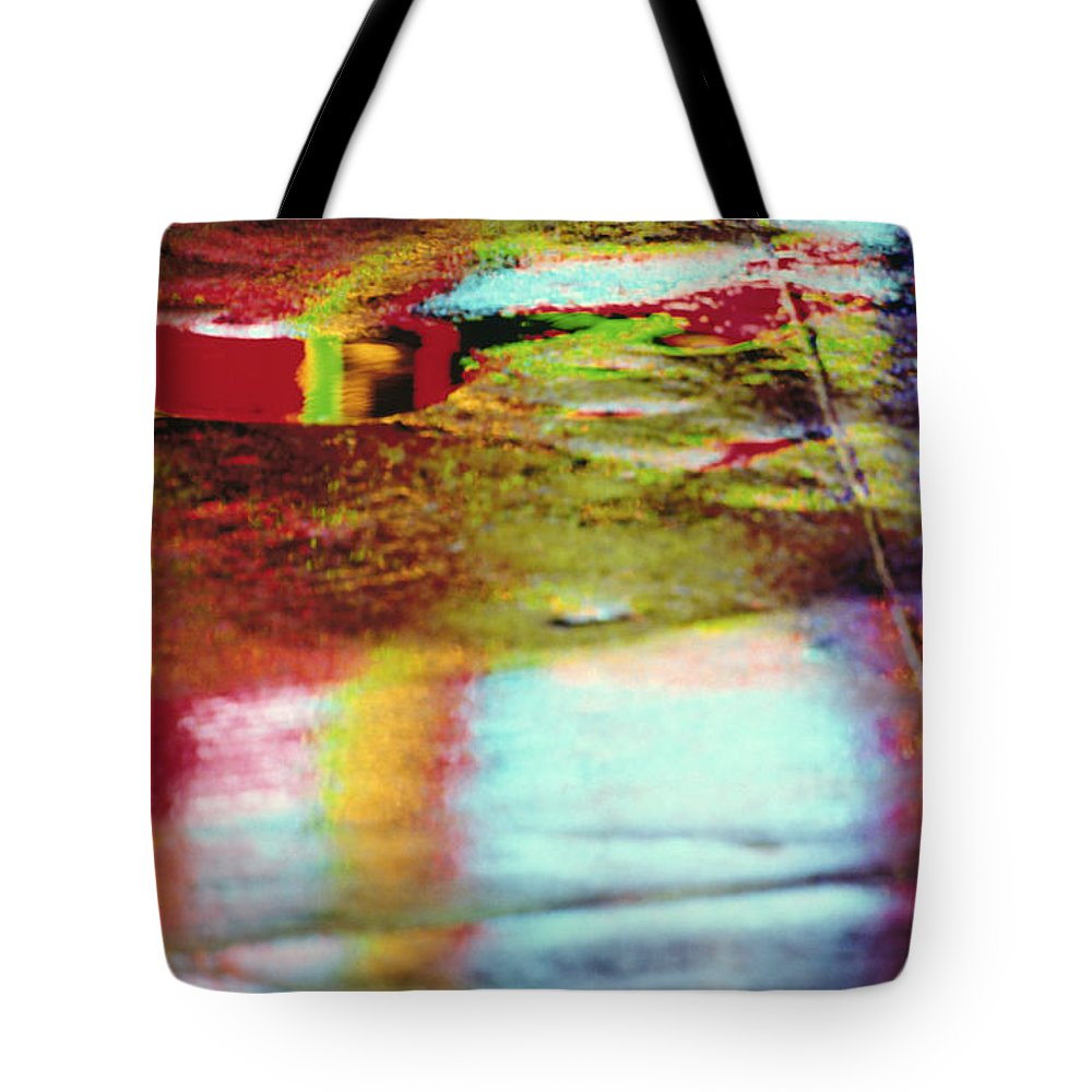 Abstract Tote Bag featuring the photograph After The Rain Abstract 2 by Tony Cordoza