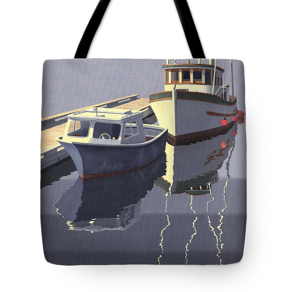Boat Tote Bag featuring the painting After The Rain by Gary Giacomelli