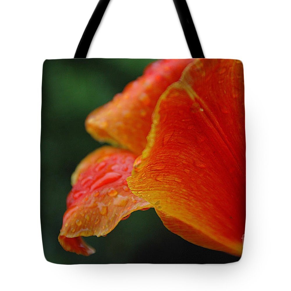 Close-up Tulip Tote Bag featuring the photograph After The Rain by Jacqueline Milner