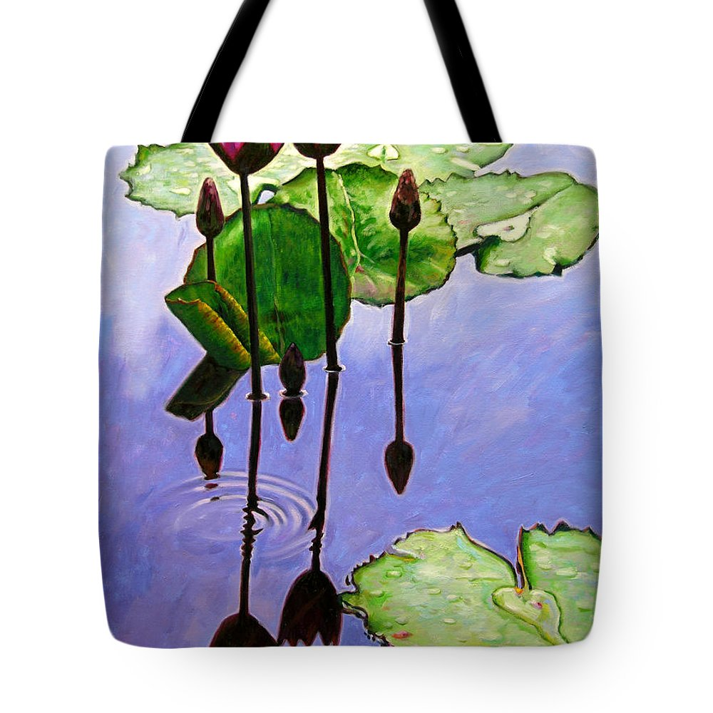 Rose Colored Water Lilies After A Morning Shower With Dark Reflections And Water Ripple. Tote Bag featuring the painting After The Shower by John Lautermilch