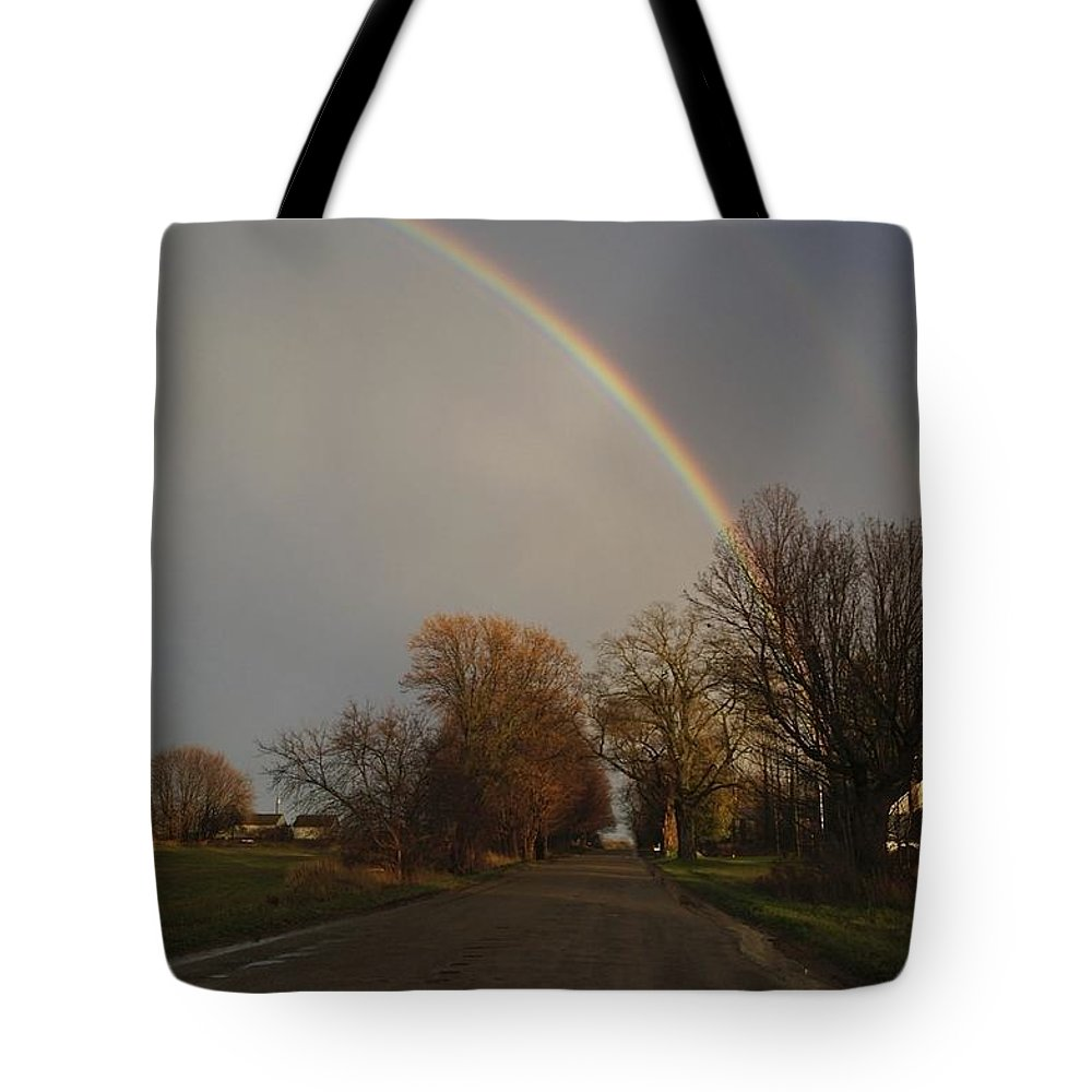Rainbow Double Rainbow Storm Tote Bag featuring the photograph After The Storm by Mark Andrews