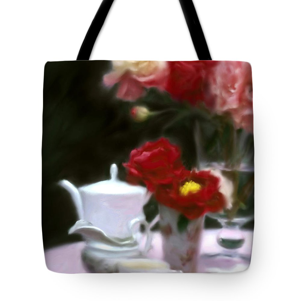Peonies Tote Bag featuring the digital art Afternnon Tea With Peonies by Stephen Lucas