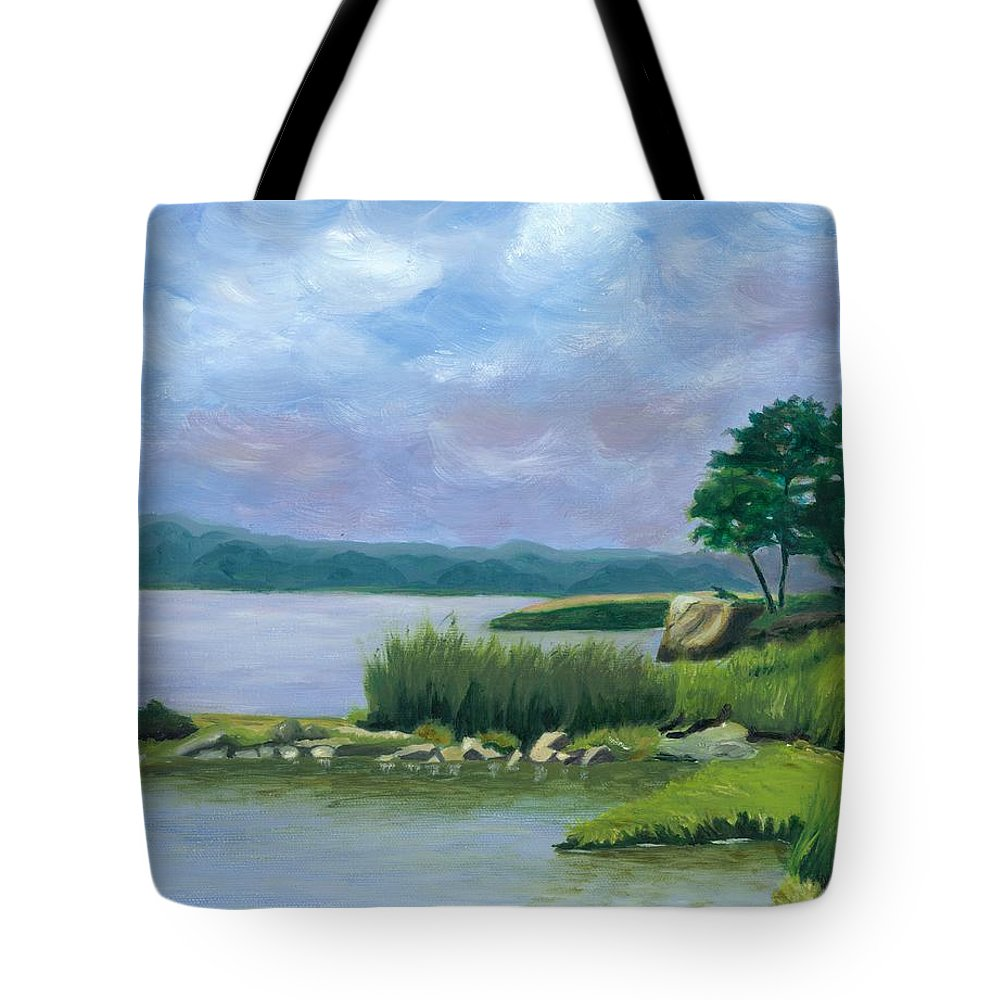 Seascape Tote Bag featuring the painting Afternoon At Pilgrim by Paula Emery
